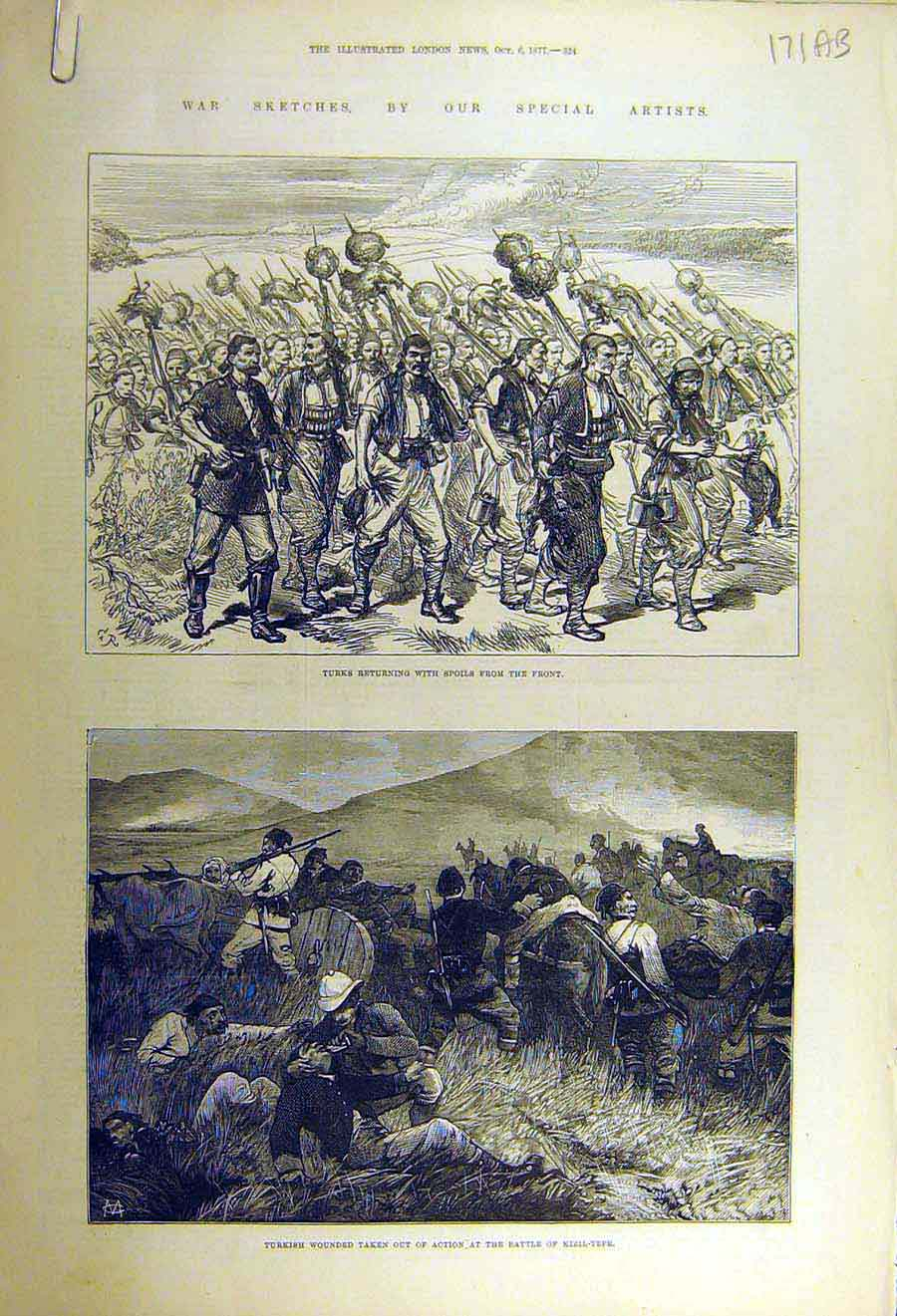 Print 1877 War Sketch Turks Kizil-Tepe Battle-Field Kaceljevo 71Accc1 Old Original
