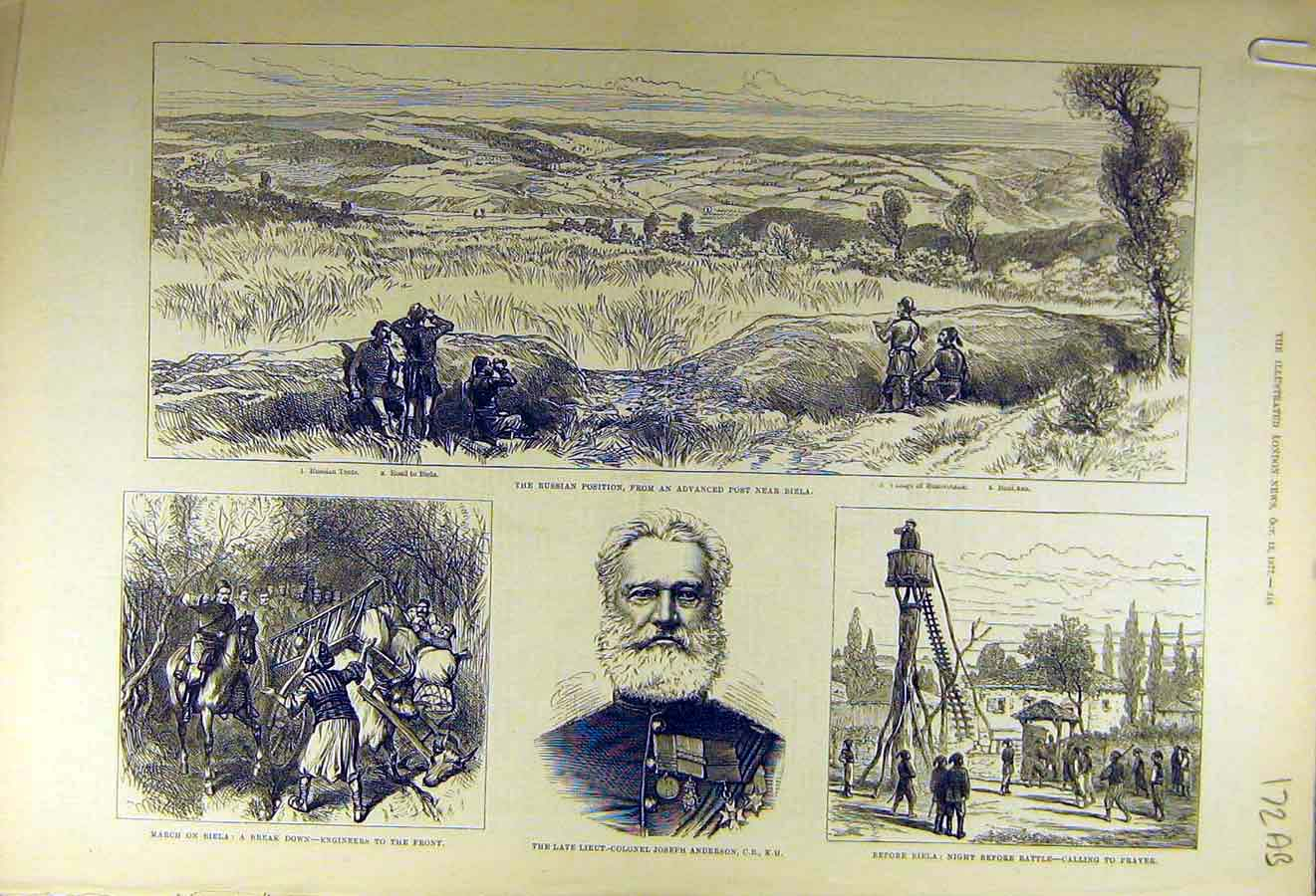 Print 1877 Biela Russian War Turkish Attack Anderson Military 72Accc1 Old Original