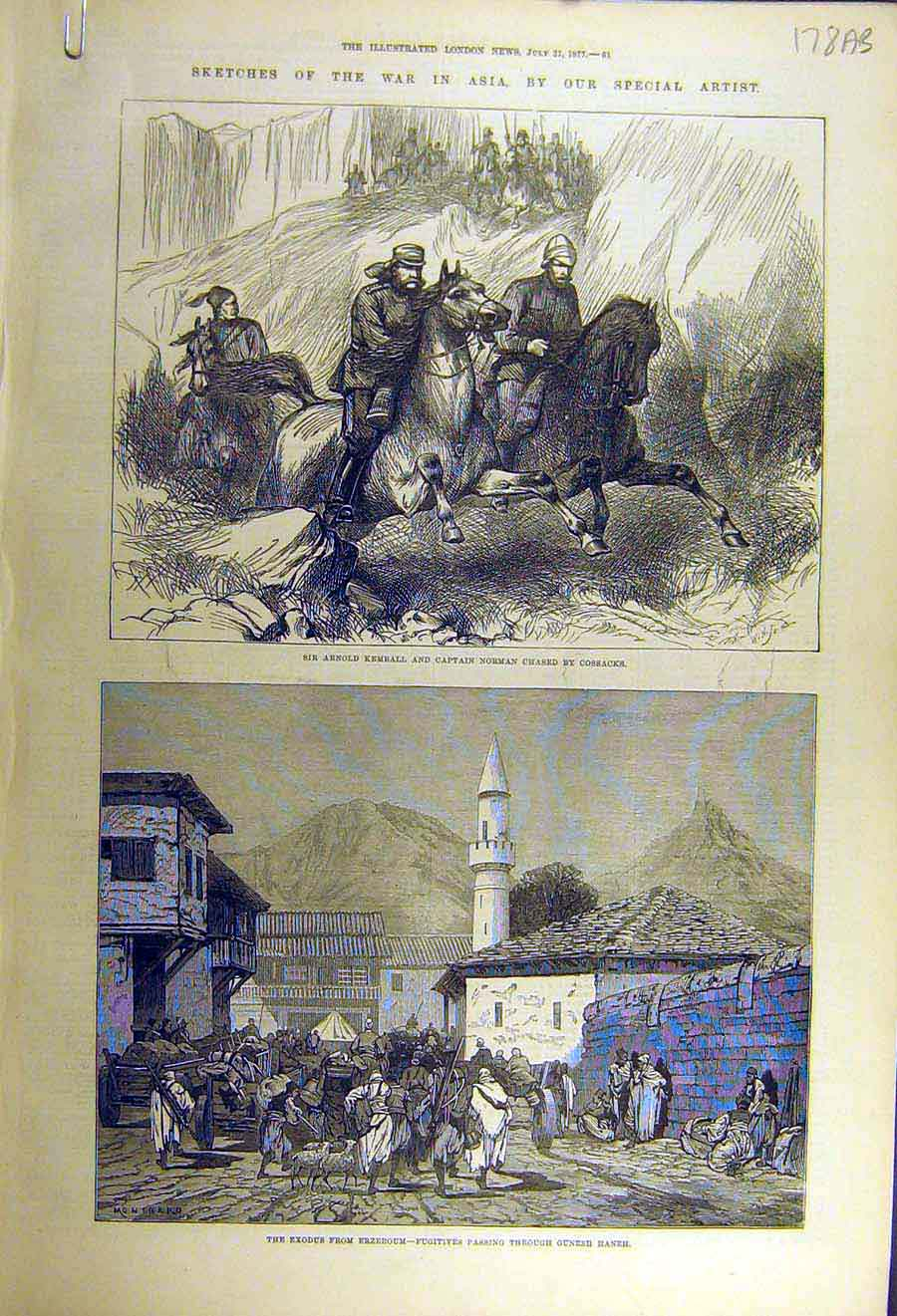 [Print 1877 War Asia Kemball Norman Cossacks Erzeroum Peru 78Accc1 Old Original]