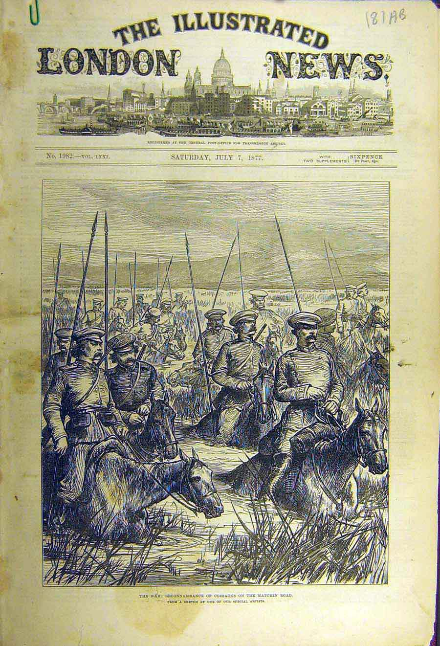[Print 1877 War Cossacks Matchin Road Giurgevo Sistova Sketch 81Accc1 Old Original]
