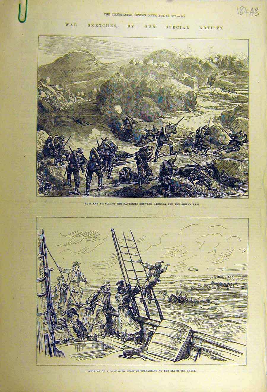 [Print 1877 Russian War Gabrova Shipka Black-Sea Cossack Yacht 84Accc1 Old Original]