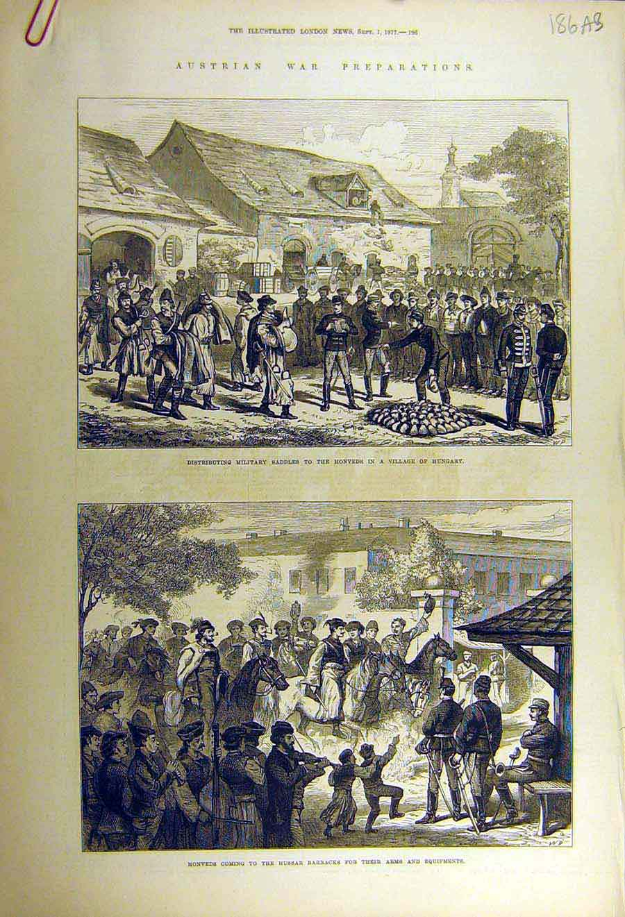 Print 1877 Austrian War Military Honveds Hungary Henley Boats 86Accc1 Old Original