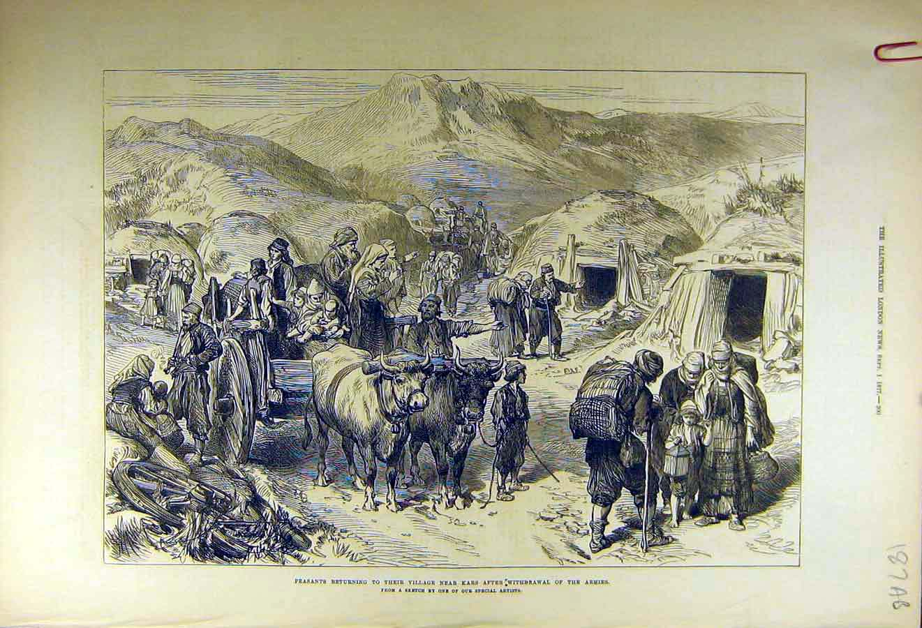 [Print 1877 Peasants Kars War Balkan Village Sketches 87Accc1 Old Original]