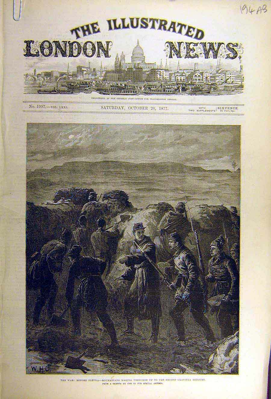 Print 1877 War Plevna Roumanian Trenches Dorobanzer Military 94Accc1 Old Original