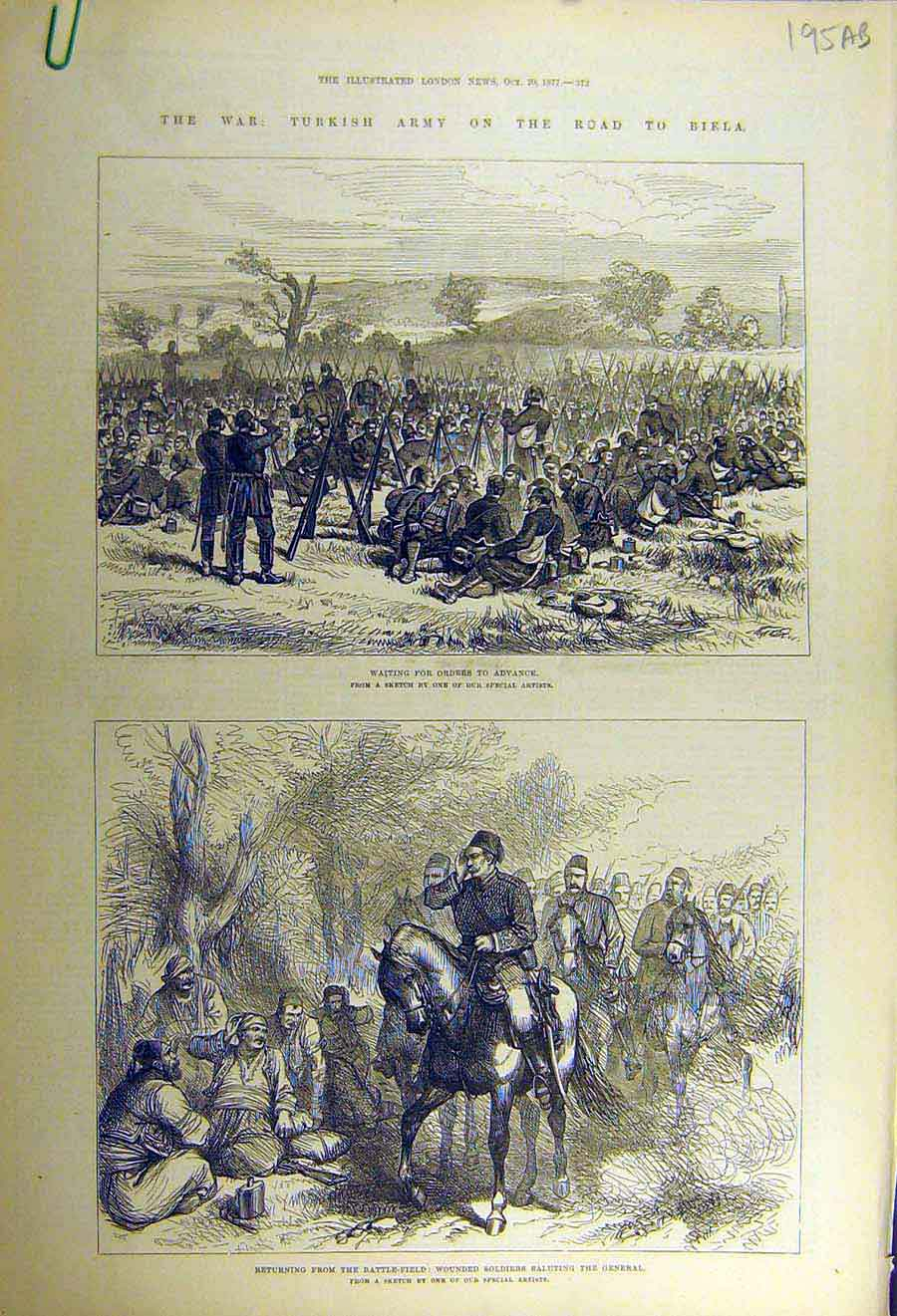 Print 1877 Turkish Army War Biela Battle-Field Soldiers 95Accc1 Old Original