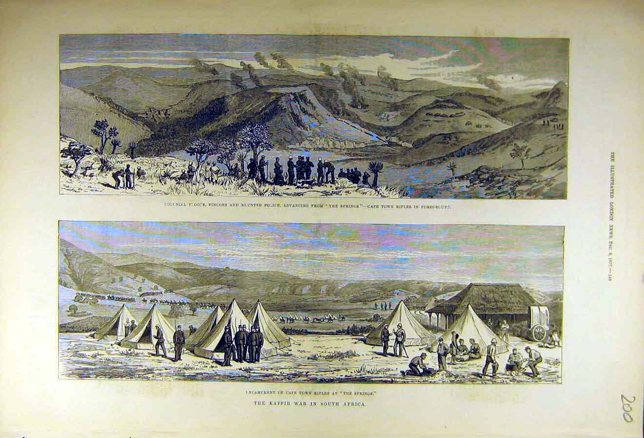 Print 1877 Cape-Town Africa Kaffir-War Troops Fingoes Police 00Ccc1 Old Original
