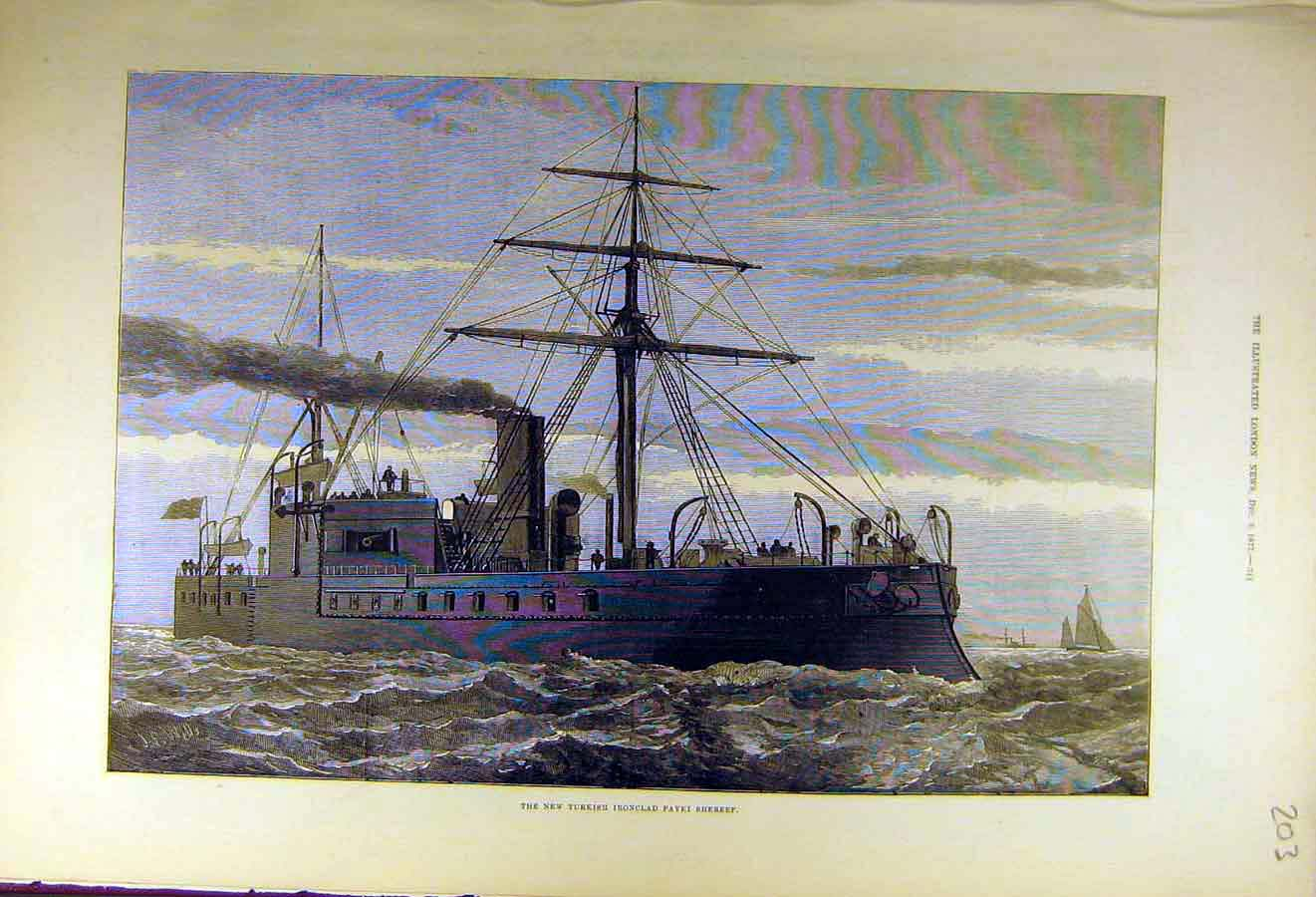 Print 1877 Turkish Iron-Clad Payki-Shereef Ship 03Ccc1 Old Original