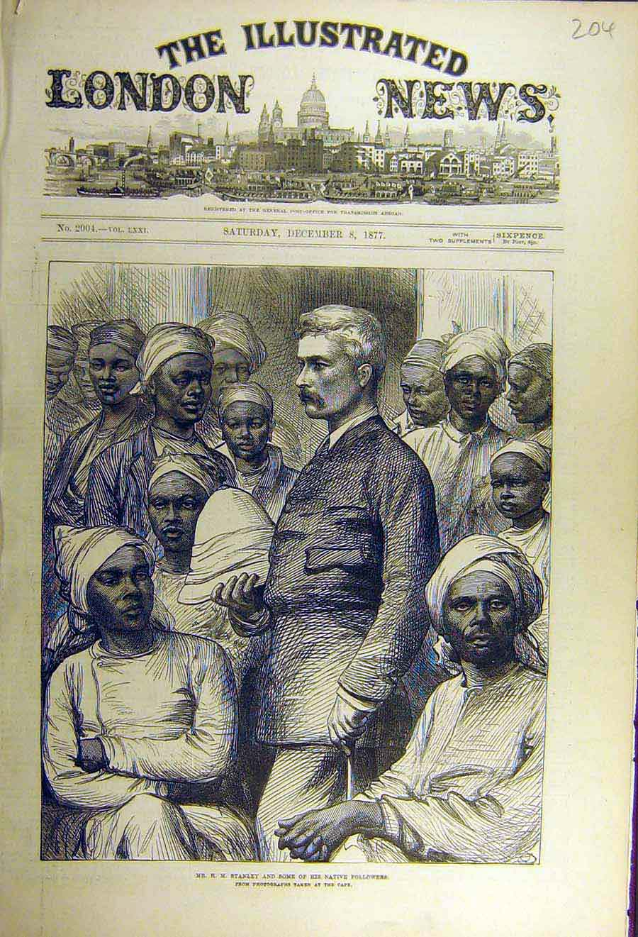 Print 1877 Stanley Native Follwoers Africa Cape 04Ccc1 Old Original