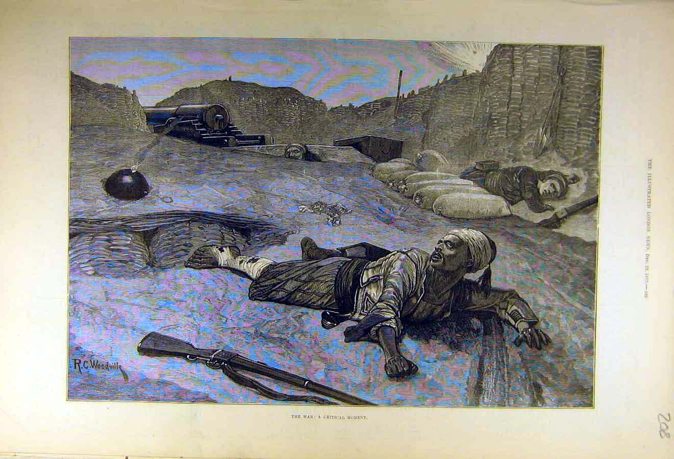 Print 1877 War Bomb Woodville Soldiers Military 08Ccc1 Old Original