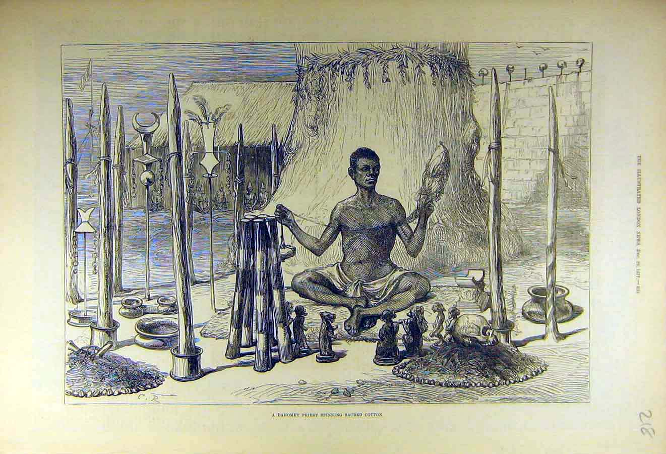 Print 1877 Dahomey Priest Spinning Sacred-Cotton 18Ccc1 Old Original