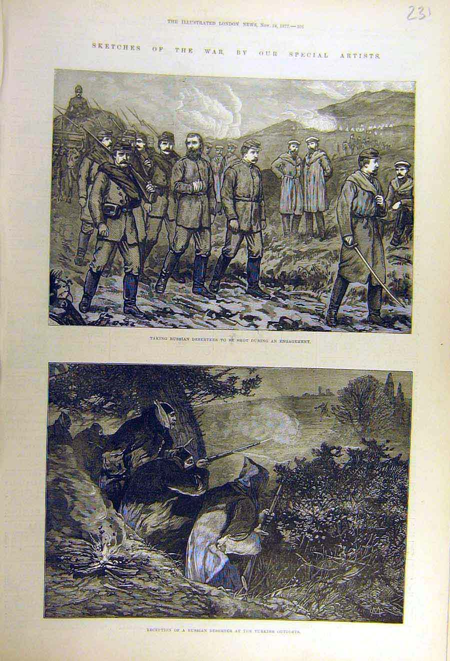 Print 1877 War Russian Deserter Turkish Out-Post Military 31Ccc1 Old Original