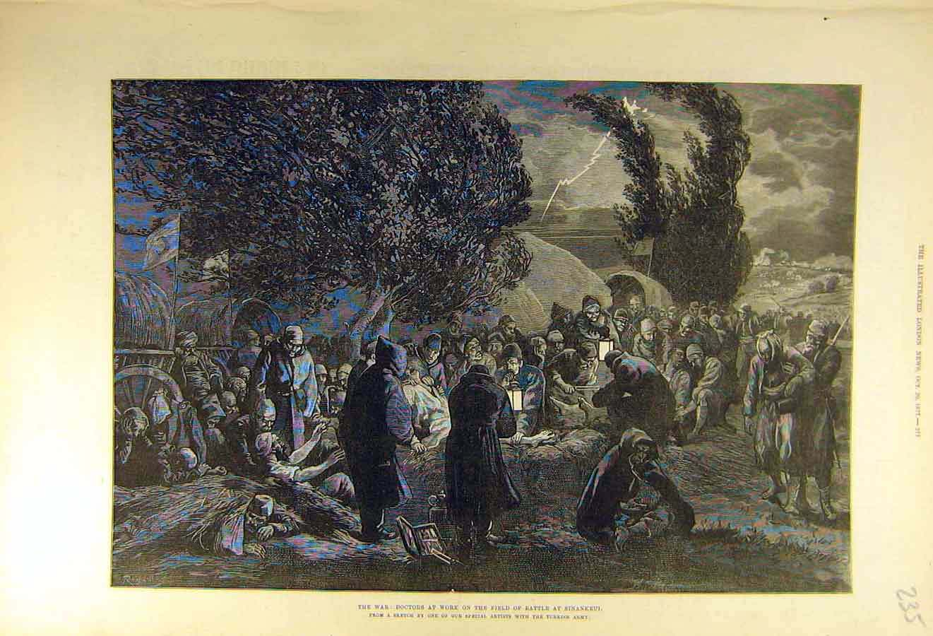 Print 1877 War Doctors Battle-Field Sinankeui 35Ccc1 Old Original