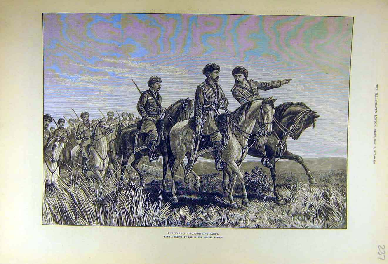 Print 1877 War Reconnoitring Party Scouts Military Troops 37Ccc1 Old Original