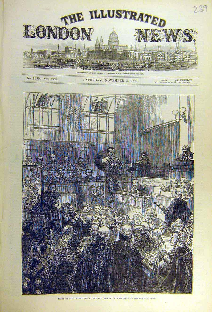 Print 1877 Trial Detectives Old-Bailey Convict Kurr 39Ccc1 Old Original