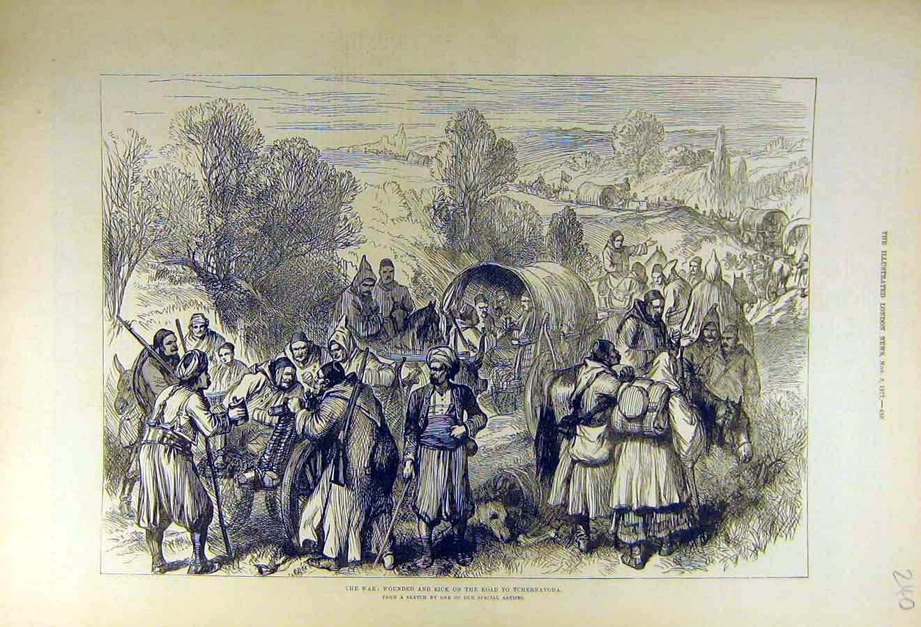 Print 1877 War Wounded Sick Tcherbavoda People 40Ccc1 Old Original