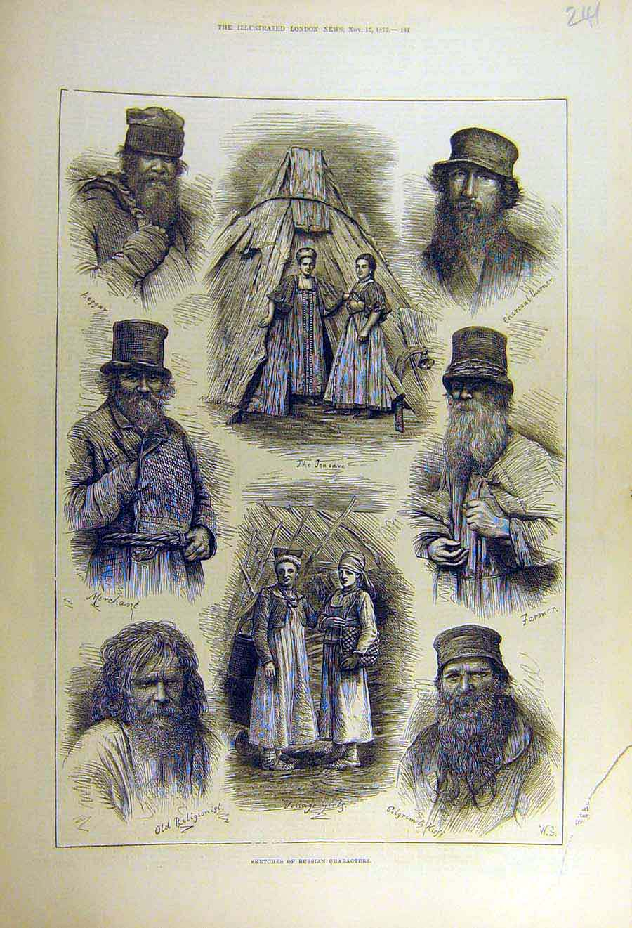 Print 1877 Sketches Russian Characters People 41Ccc1 Old Original