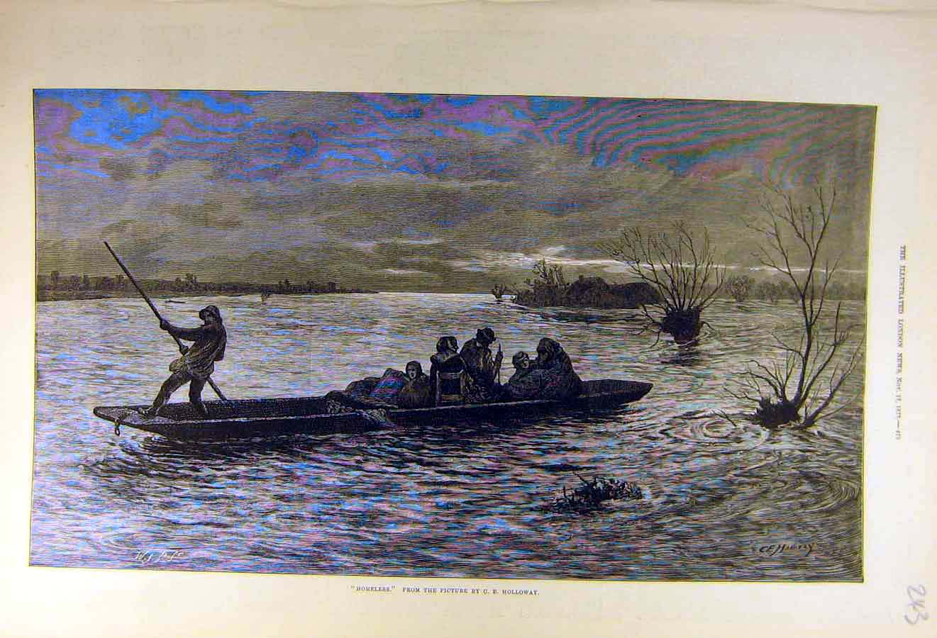 Print 1877 Homeless Holloway Boat People River Fine Art 43Ccc1 Old Original