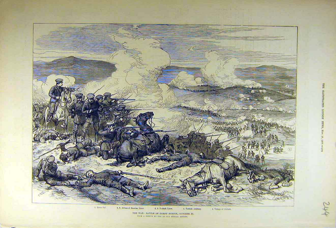 Print 1877 War Battle Gorny-Dubnik Turkish Vid Artillery 44Ccc1 Old Original