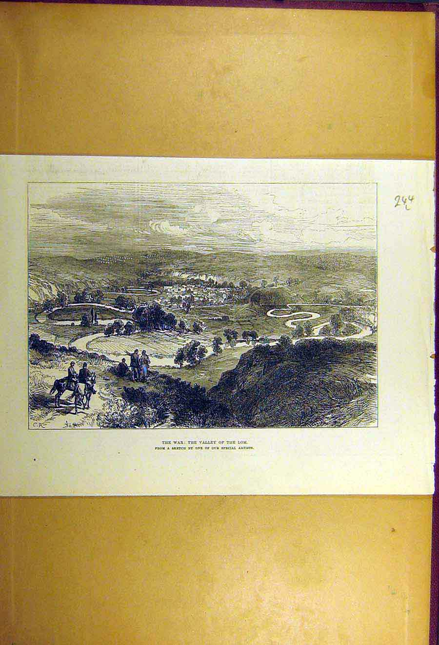 Print 1877 War Valley Lom Sketch Russian Turkish 44Lccc1 Old Original