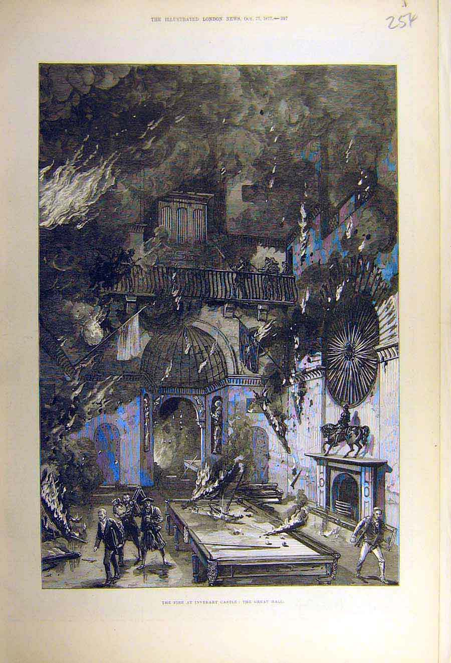 Print 1877 Fire Inverary Castle Great-Hall Building 54Ccc1 Old Original