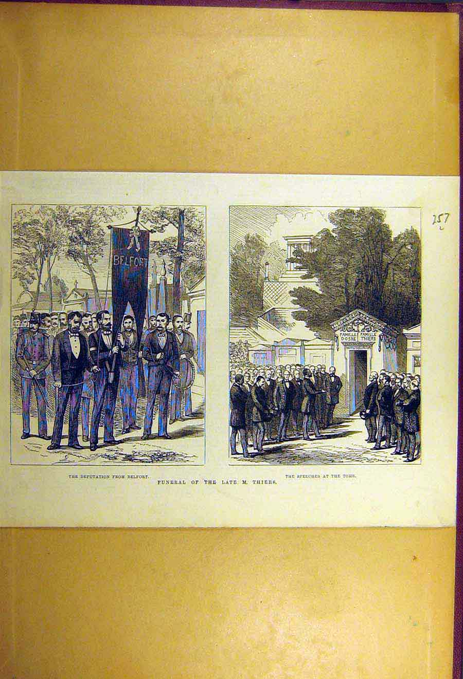 Print 1877 Deputation Belfort Funeral Thiers Tomb Speech 57Lccc1 Old Original