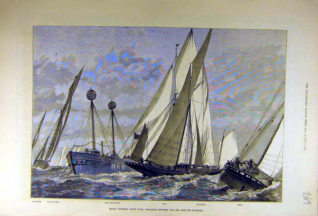 Print 1877 Royal Victoria Yacht Club Ada Florinda Collision 69Ccc1 Old Original