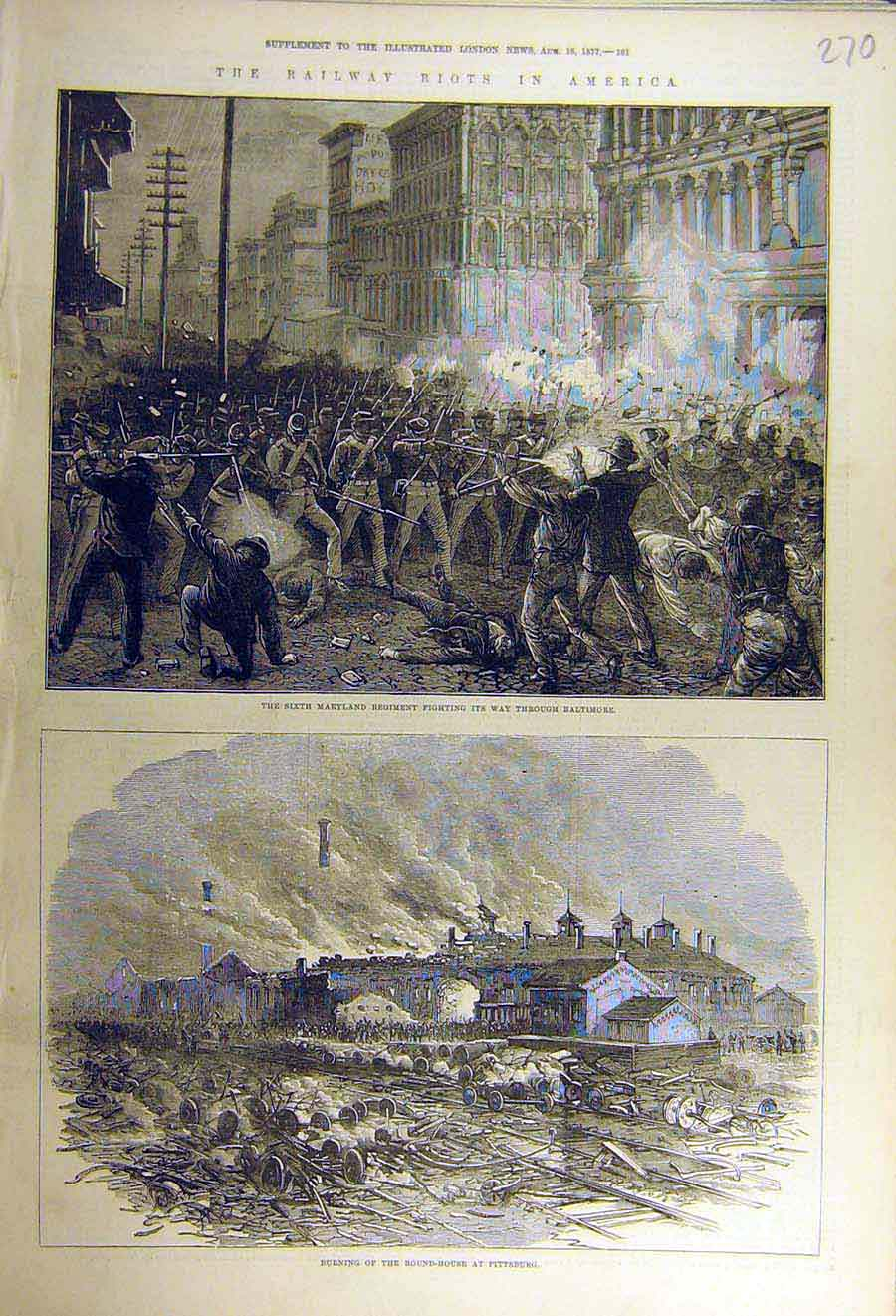 Print 1877 Railway Riots America Baltimore Pittsburg Regiment 70Ccc1 Old Original
