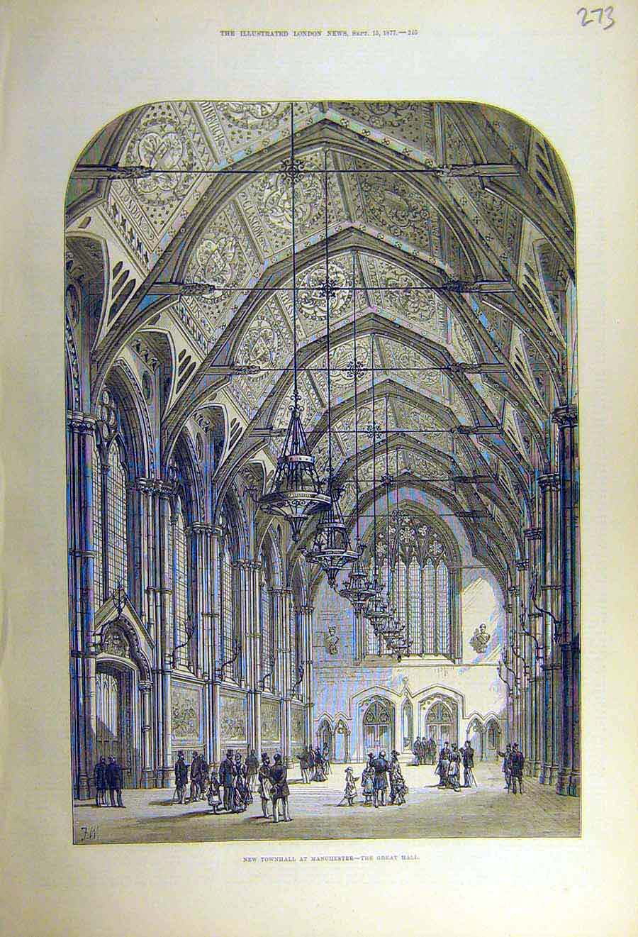Print 1877 Townhall Manchester Great-Hall Building Architect 73Ccc1 Old Original