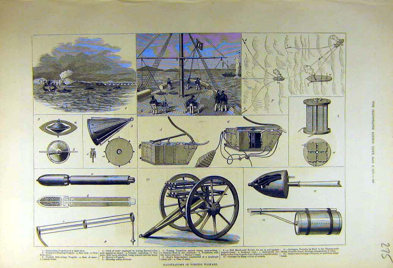 Print 1877 Illustrations Torpedo Warfare Weapons Ship 75Ccc1 Old Original