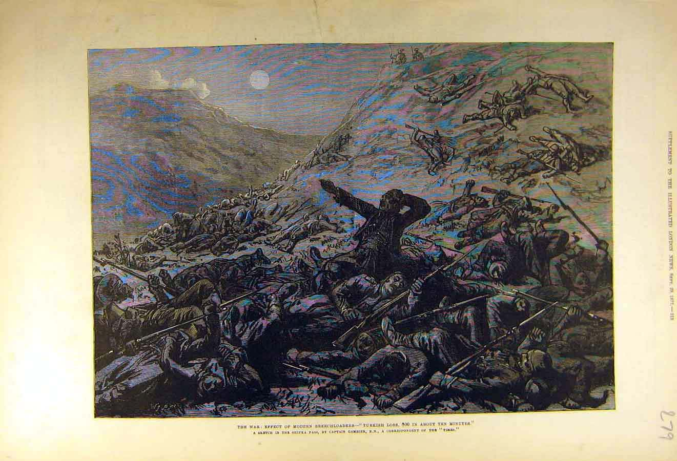 Print 1877 War Breechloaders Guns Turkish Battle-Field 79Ccc1 Old Original