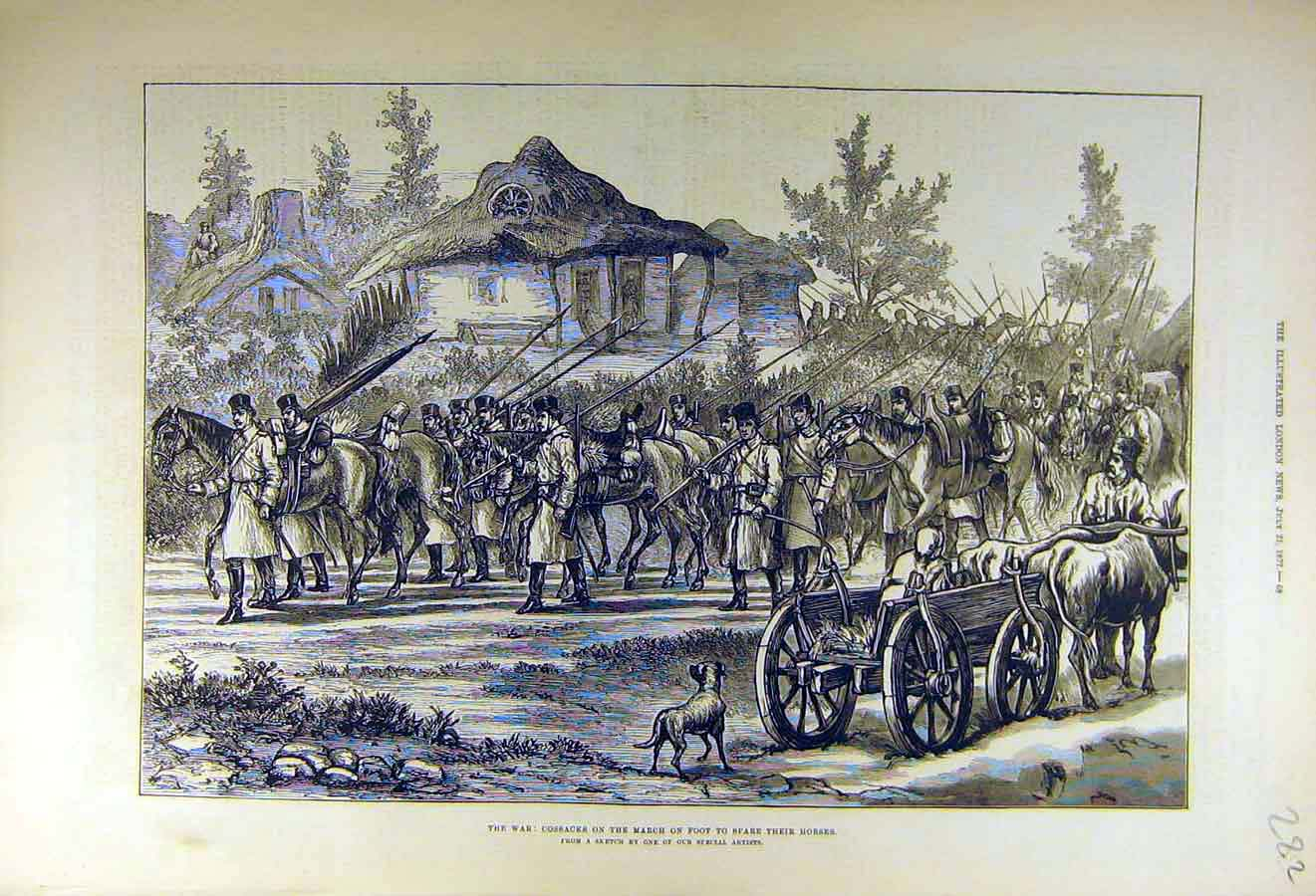 Print 1877 War Cossacks Foot-March Horses Military 82Ccc1 Old Original