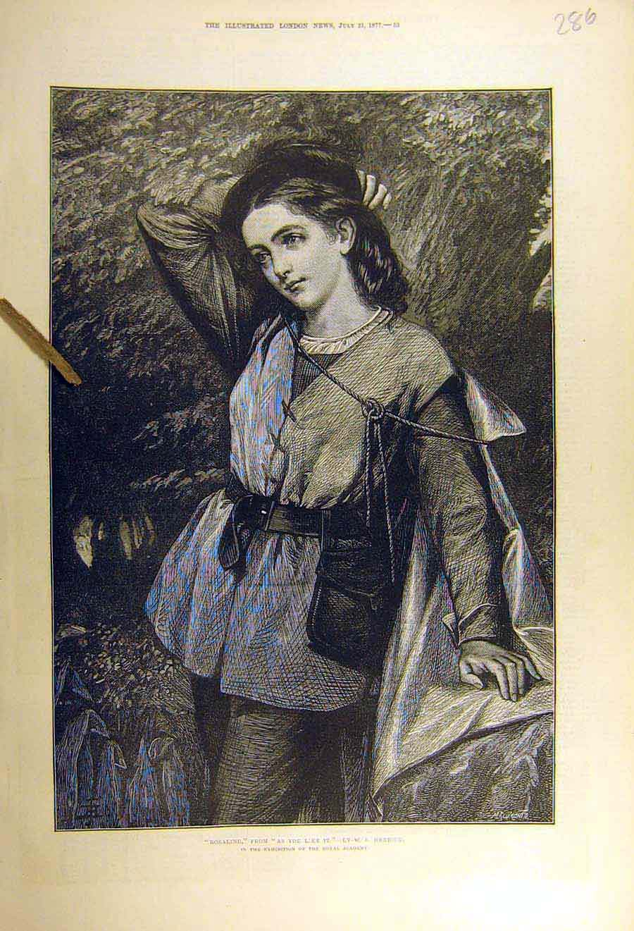 Print 1877 Rosalind As-You-Like-It Herrick Fine Art 86Ccc1 Old Original