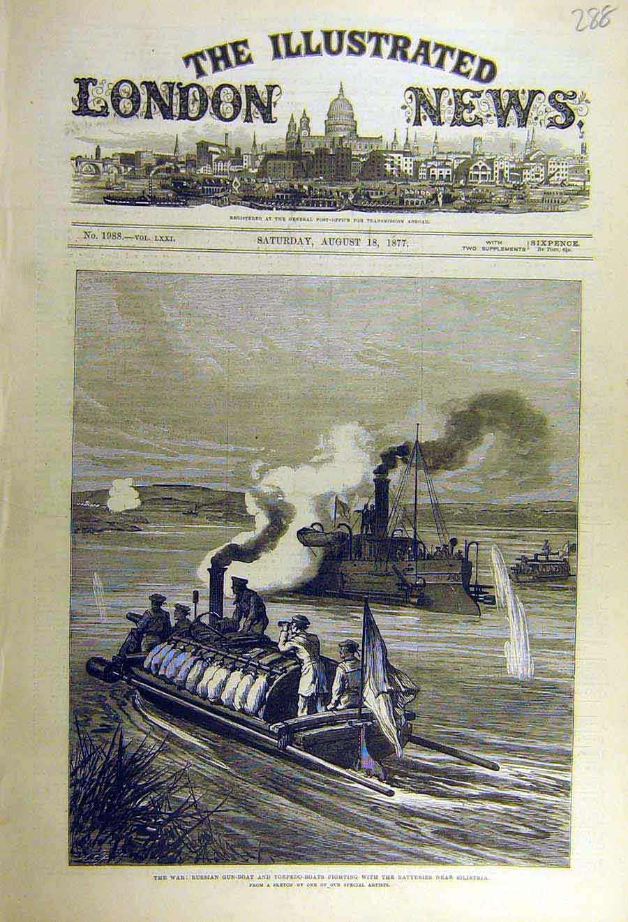 Print 1877 War Russian Gun-Boat Torpedo Batteries Silistria 88Ccc1 Old Original