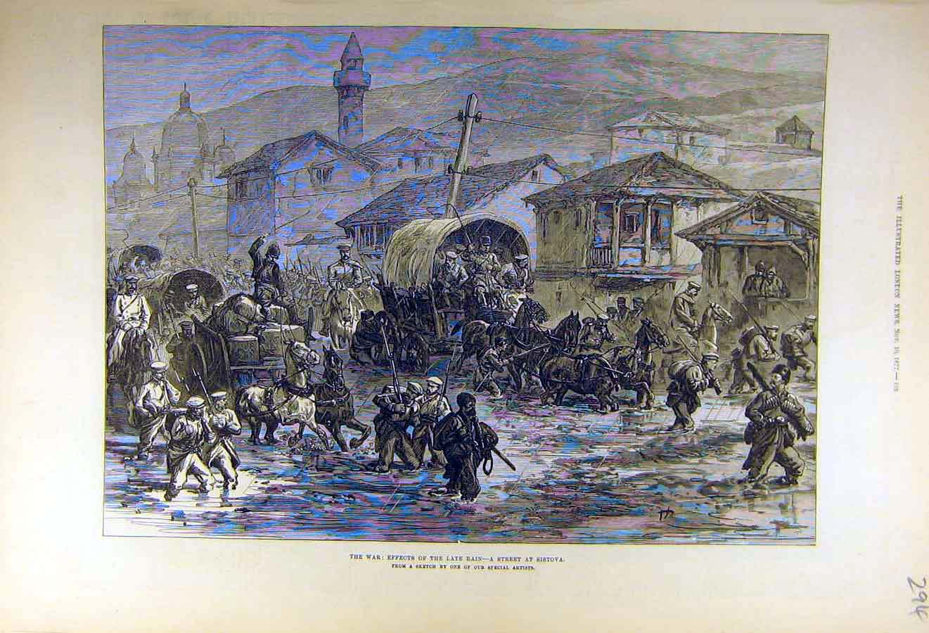 Print 1877 War Late-Rain Street Sistova People 94Ccc1 Old Original