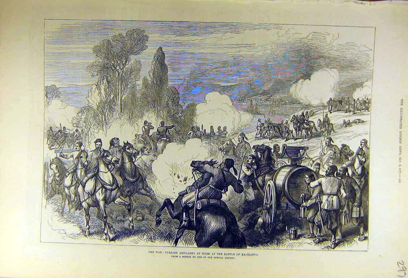 Print 1877 War Turkish Artillery Battle Kaceljevo Military 97Ccc1 Old Original