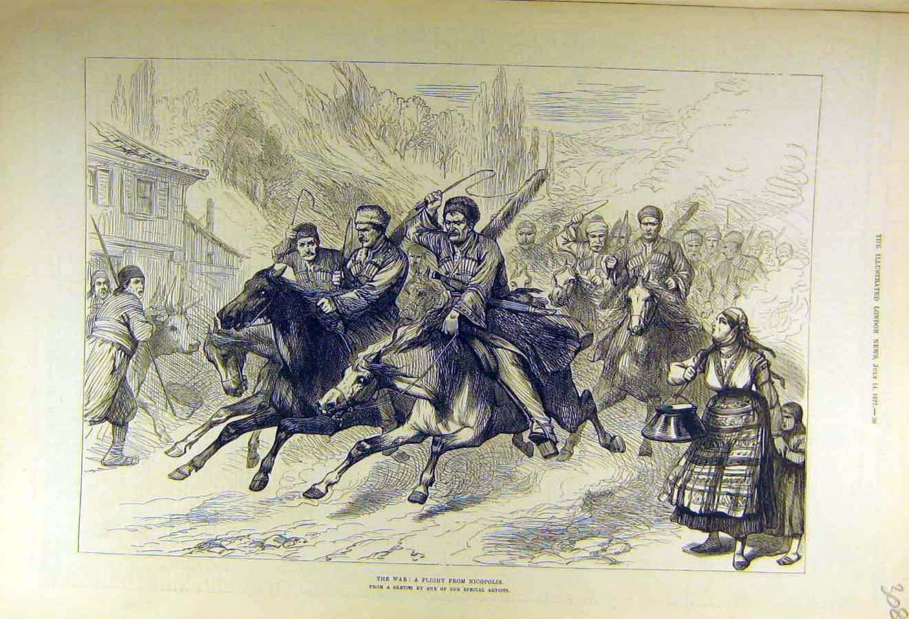 Print 1877 War Flight Nicopolis People Troops Military 08Ccc1 Old Original