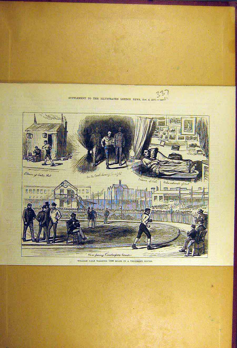 Print 1877 William-Gale Walk Walking 1500-Miles Thousand-Hour 37Uccc1 Old Original