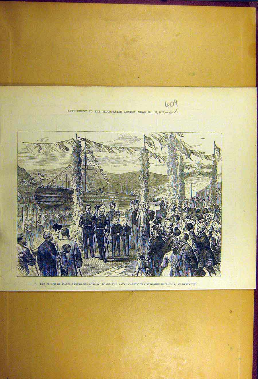 Print 1877 Prince Wales Naval Cadet Training-Ship Britannia 09Uccc1 Old Original
