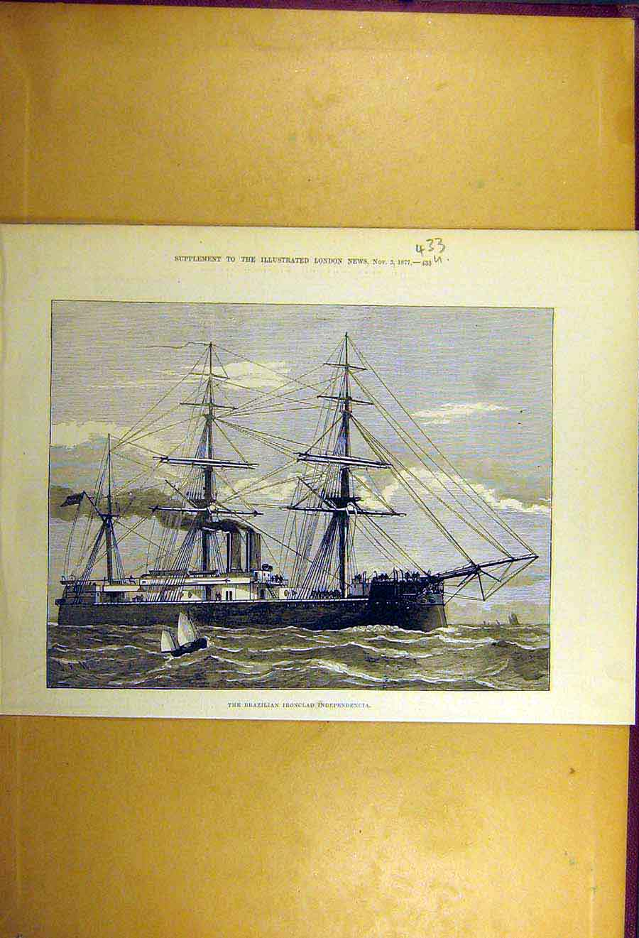Print 1877 Brazilian Iron-Clad Independencia Ship Naval 33Uccc1 Old Original