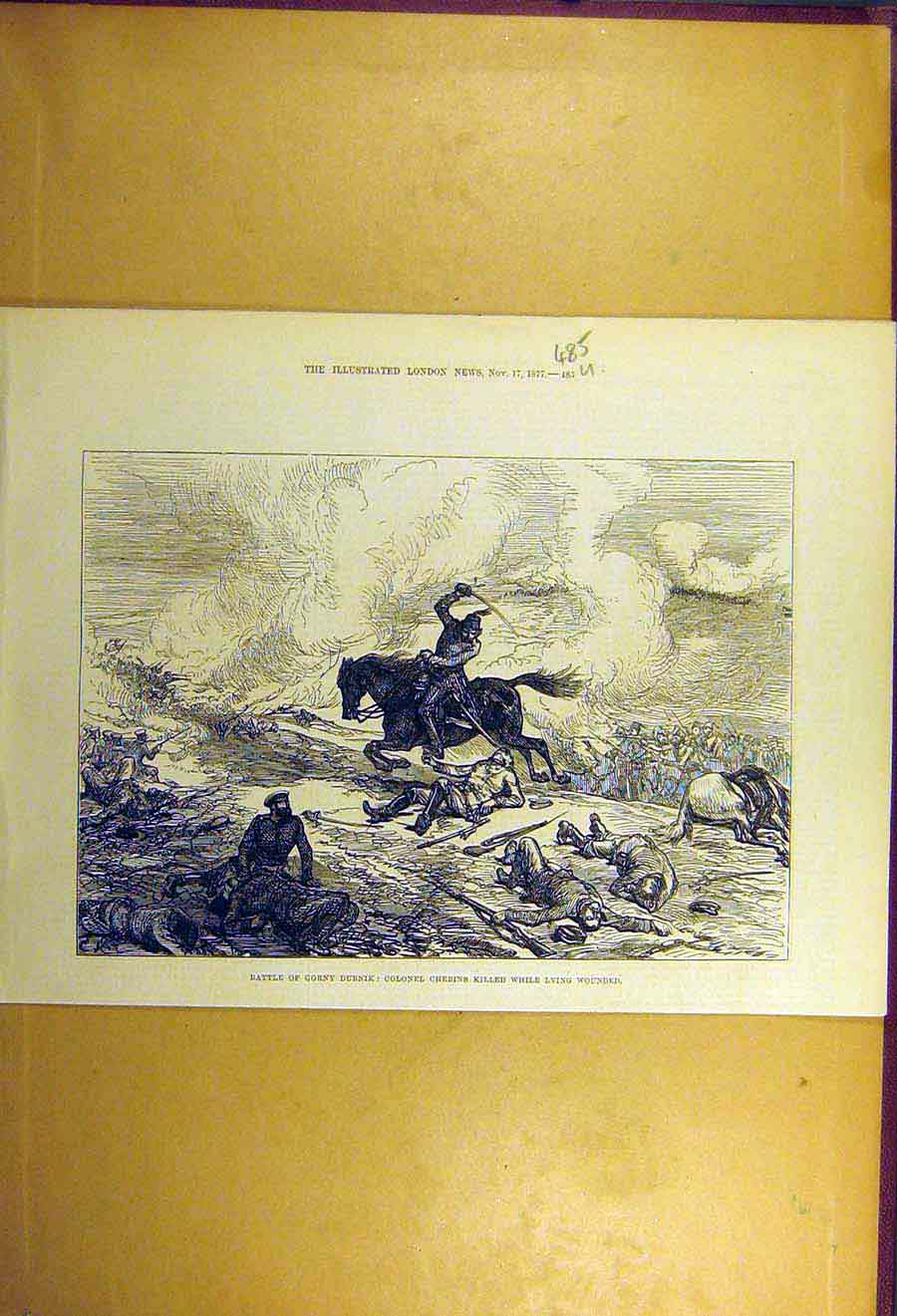 Print 1877 Battle Gorny-Dubnik Colonel Chebins Military 85Uccc1 Old Original