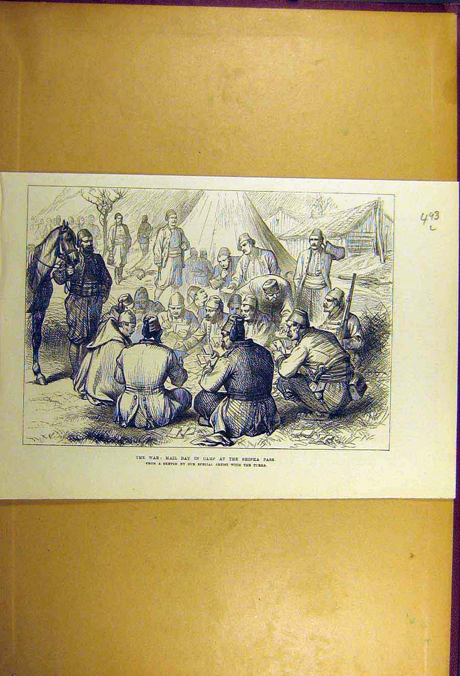 Print 1877 War Mail-Day Camp Troops Shipka Pass Military 93Lccc1 Old Original
