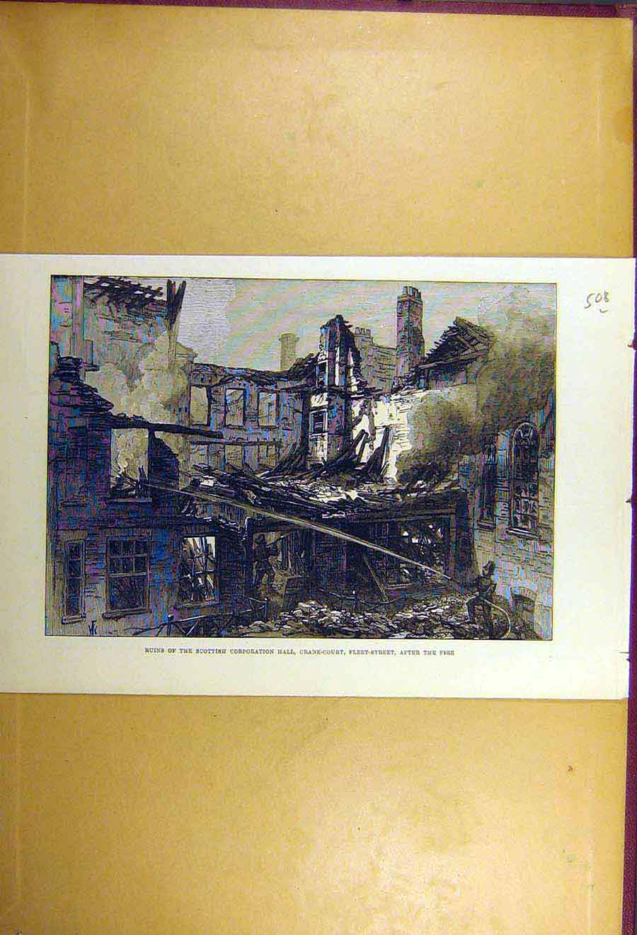 Print 1877 Ruins Scottish Corporation-Hall Fleet-Street Fire 08Lccc1 Old Original