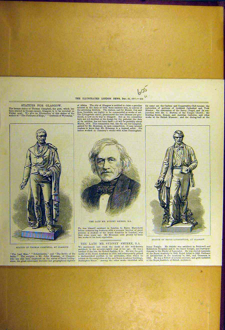 Print 1877 Statue Glasgow Campbell Livingstone Smirke 05Uccc1 Old Original