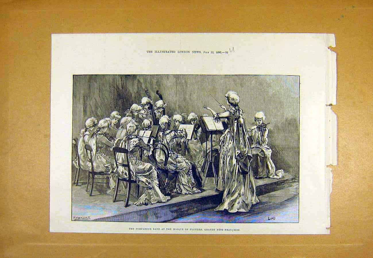 Print Pompadour Band Masque Flowers French Fete Ladies 1890 36Uccc1 Old Original
