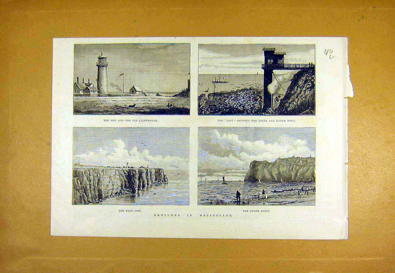Print Heligoland Sketches Lighthouse High-Low Town Beach 1890 40Lccc1 Old Original