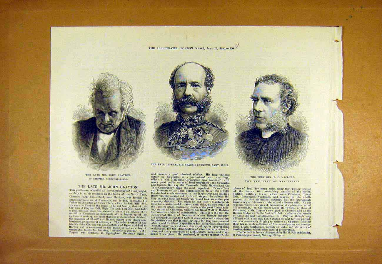 Print Portrait Clayton Seymour Maclure Dean General 1890 00Uccc1 Old Original