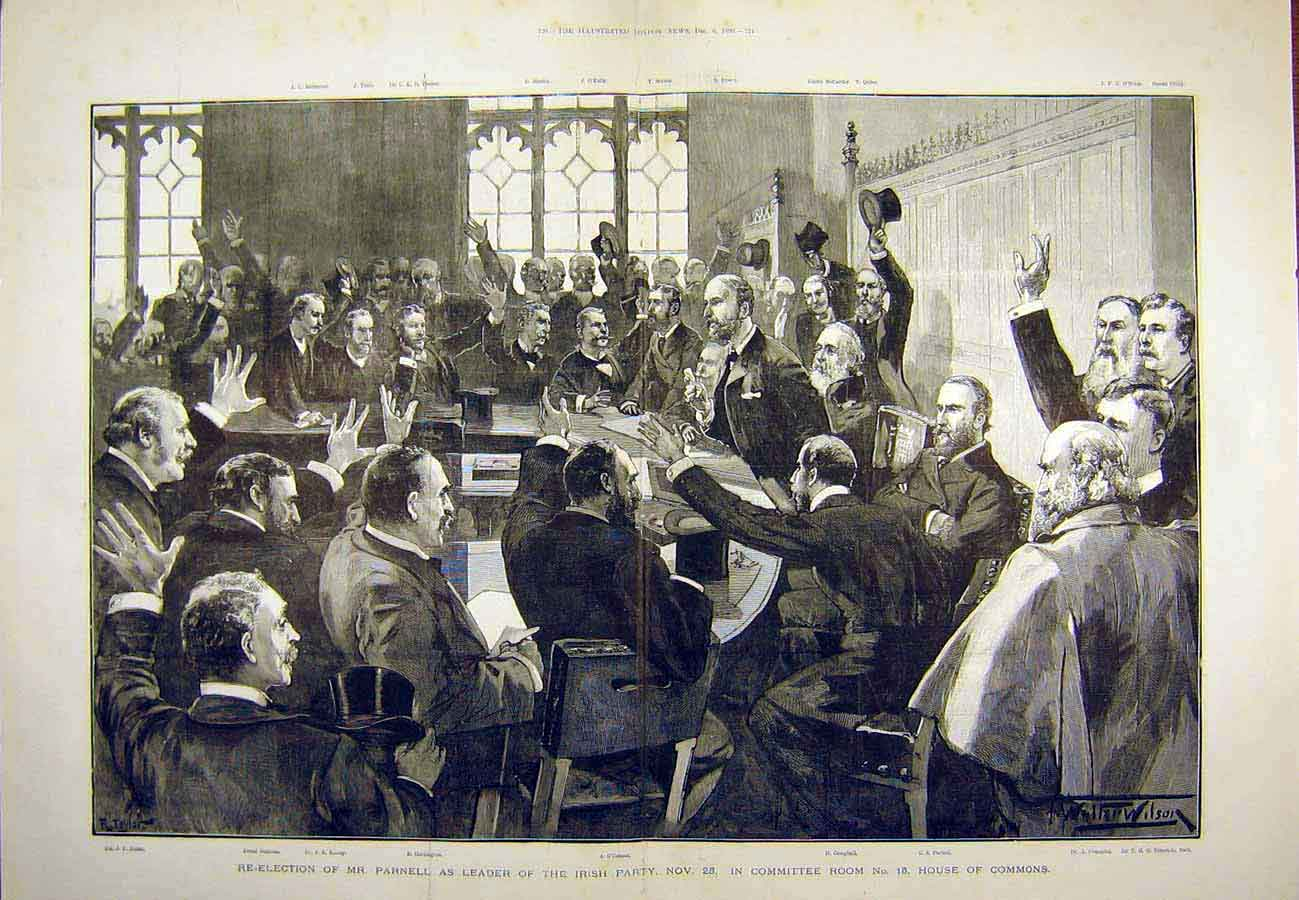 Print Parnell Election Irish-Party House Commons Members 1890 21Tccc1 Old Original