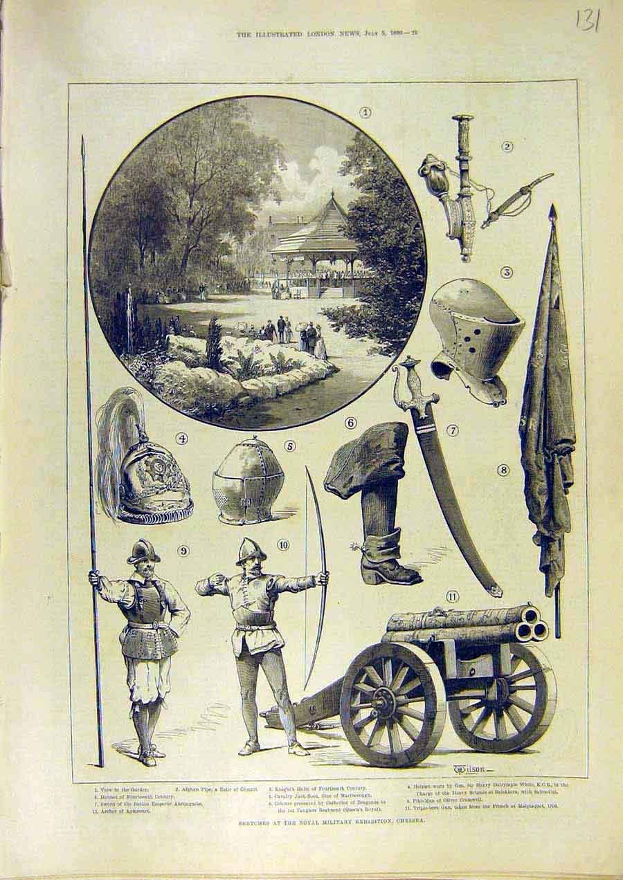 Print Sketches Royal Military Exhibition Chelsea 1890 31Ccc1 Old Original
