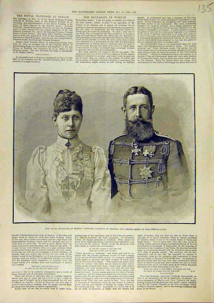 Print Royal Marriage Berlin Princess Victoria Prince Adolph 35Ccc1 Old Original