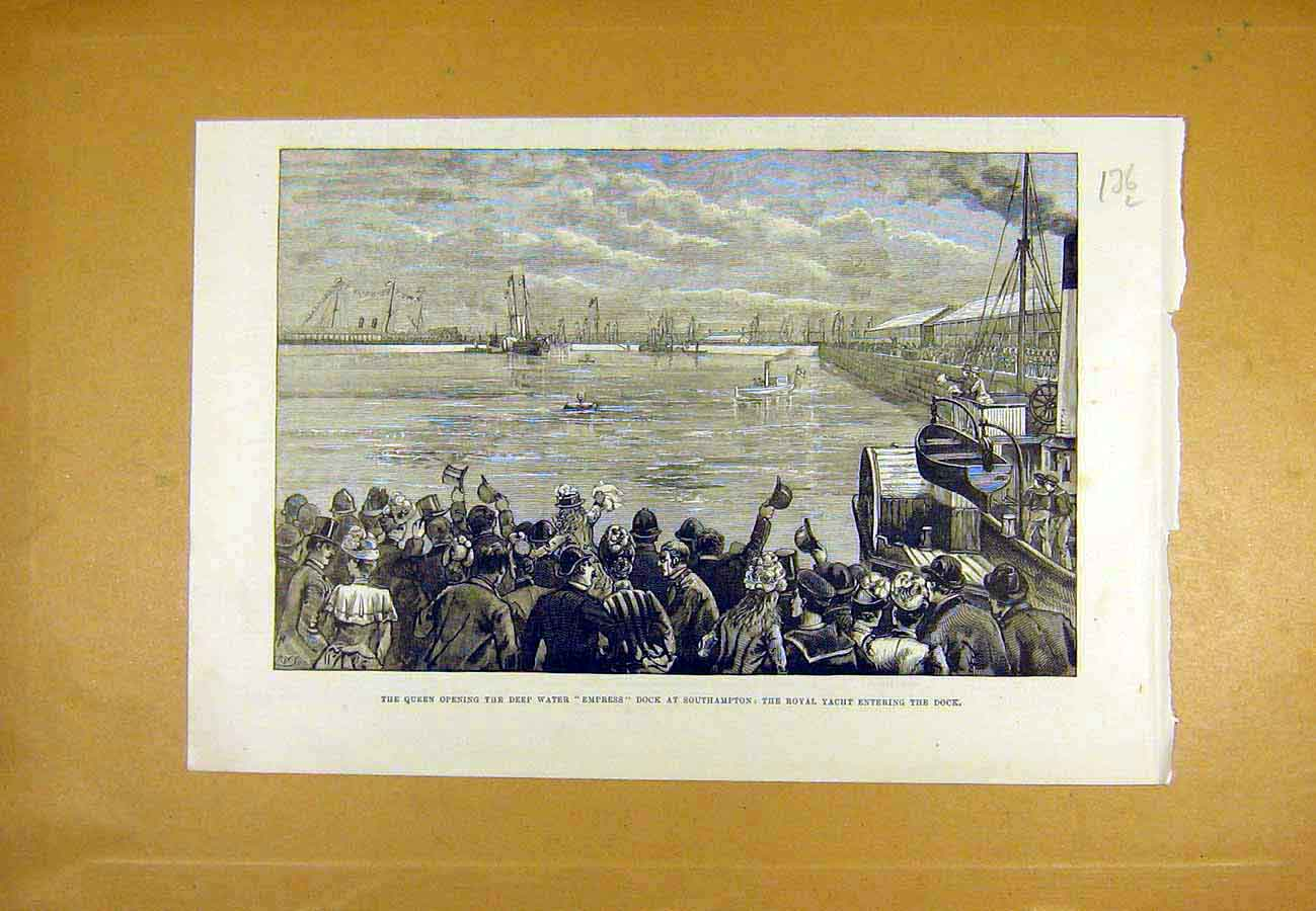 Print Queen Empress Dock Southampton Royal Yacht 1890 36Lccc1 Old Original